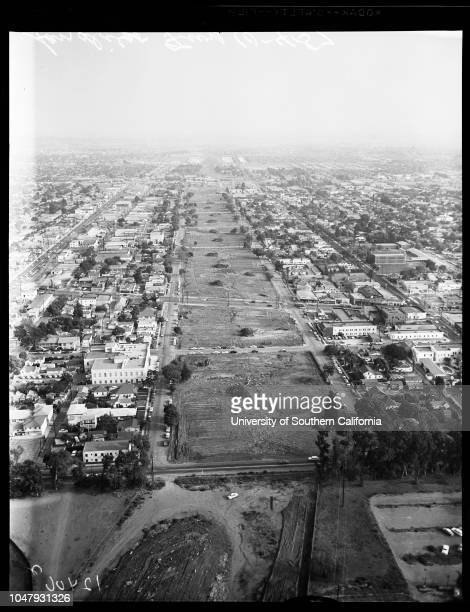 Aerial views of San Diego Freeway 04 October 1957Supplementary material reads 'Photographer Sandusky Assignment Aerials San Diego Fwy Special...