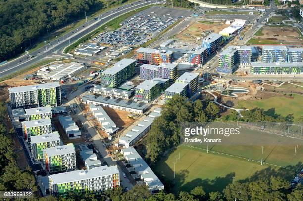 Aerial views of the Athletes Village can be seen on May 17 2017 in Gold Coast Australia The 2018 Commonwealth Games will be held on the Gold Coast...