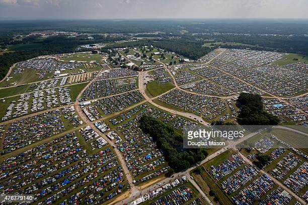 Aerial views of the first day of the Bonnaroo Music and Arts Festival 2015 on June 11 2015 in Manchester Tennessee
