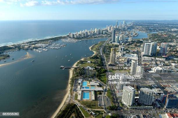 Aerial views of the Gold Coast Aquatic Centre can be seen it will be the venue for swimming and diving at the 2018 Commonwealth Games May 17 2017 in...