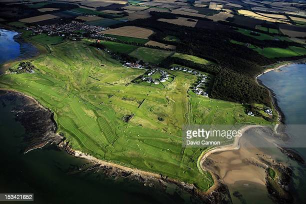 Aerial views of the Kilspindie and Craigielaw Golf Clubs on September 21, in Aberlady, Lothian, Scotland.