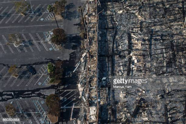 Aerial views of the KMart store destroyed by fire along the 101 freeway on October 11 2017 in Santa Rosa California