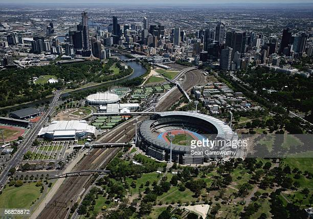 Aerial views of the Melbourne Cricket Ground as it prepares for the 2006 Commonwealth Games February 12 2006 in Melbourne Australia