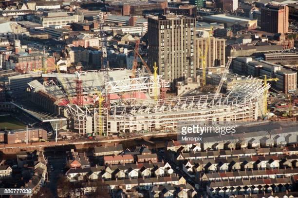 Aerial views of the Millennium Stadium under construction, 9th February 1999.