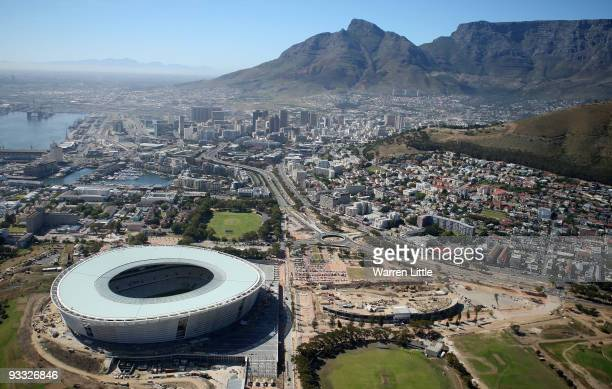 Aerial views of the new Cape Town Stadium from the top of Table Mountain as Cape Town prepares for the FIFA World Cup draw, November 23, 2009 in Cape...