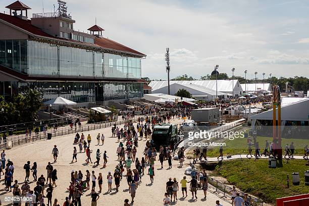 Aerial Views of the New Orleans Jazz Heritage Fesival 2016 at Fair Grounds Race Course on April 24 2016 in New Orleans Louisiana