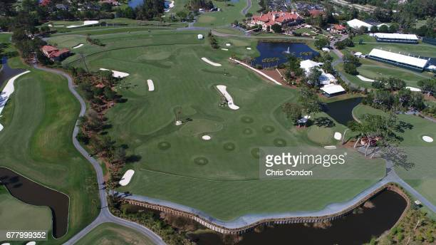 Aerial views of the practice facility at THE PLAYERS Stadium Course at TPC Sawgrass on May 2 2017 in Ponte Vedra Beach Florida