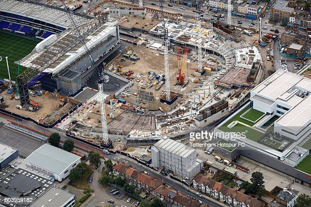 Aerial Views of the White Hart Lane Stadium Development the home of Tottenham Hotspur at White Hart Lane on September 9 2016 in London England