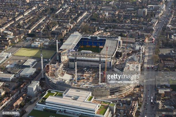Aerial Views of Tottenham Hotspur's White Hart Lane Redevelopment as building work continues at White Hart Lane on February 24 2017 in London England