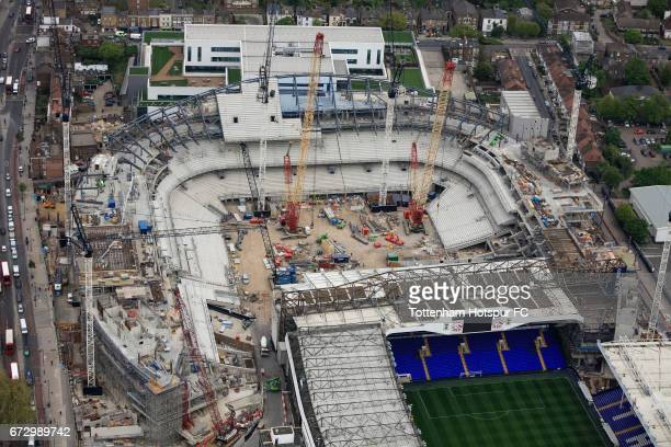 Aerial Views of Tottenham Hotspur's White Hart Lane redevelopment as work continues at White Hart Lane on April 20 2017 in London England