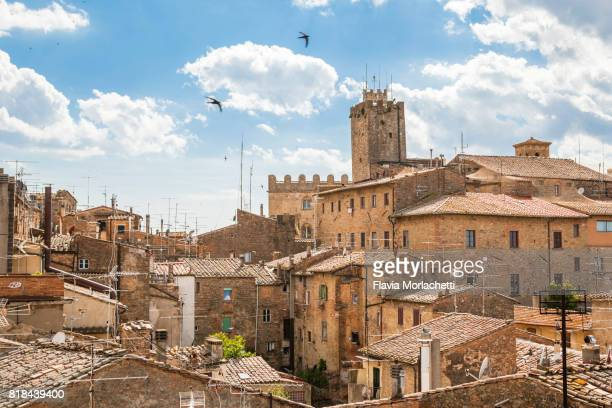 aerial views of volterra, in tuscany, italy - pisa stockfoto's en -beelden