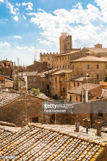 aerial views of volterra, in tuscany, italy - volterra stock photos and pictures