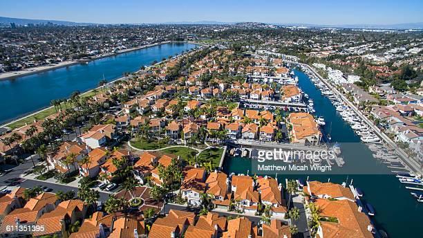 Aerial views over Los Alamitos Harbor.