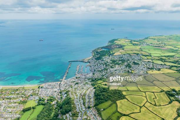 aerial views over newlyn and penzance, cornwall on a june day. - penzance stock pictures, royalty-free photos & images