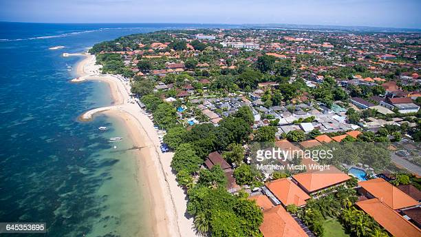 Aerial views over Sanur beach in Bali.