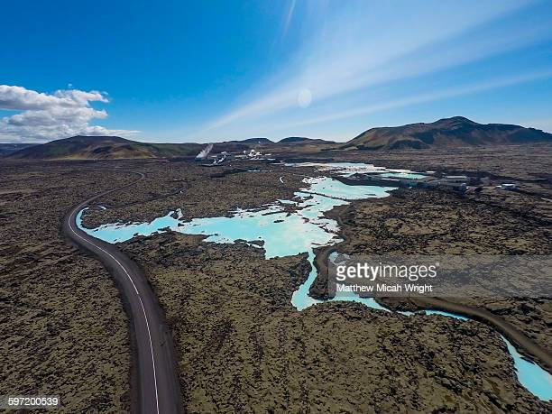 Aerial views over the Blue Lagoon.