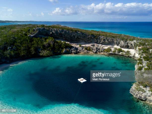 Aerial Vision, Drone capture of the tropical white beaches of Long island the Bahamas