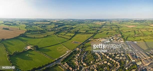 Aerial vista, village and field