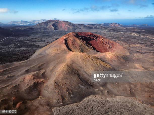 aerial volcanic landscape in timanfaya national park, lanzarote, canary islands - timanfaya national park stock pictures, royalty-free photos & images