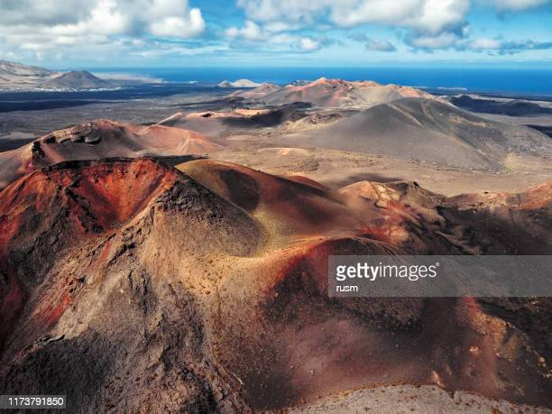 aerial volcanic landscape, timanfaya national park, lanzarote, canary islands, spain - timanfaya national park stock pictures, royalty-free photos & images