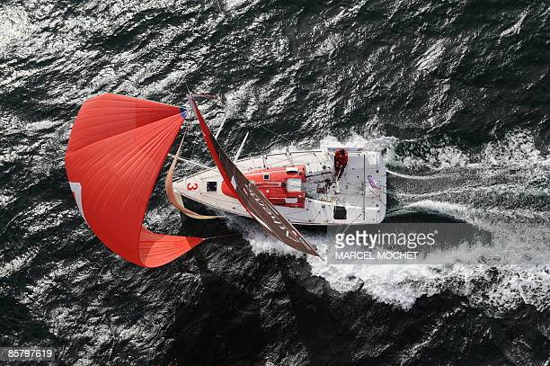 Aerial vue of French skipper Erwan Tabarly's monohull Athema during a training session on March 25 2009 at sea off the coast of Le Palais in...