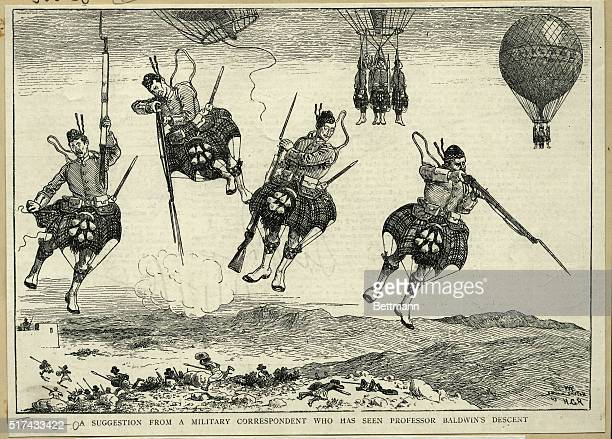 A suggestion from a military correspondent who has seen Professor Baldwin's descent Military Parachute landing It just can't be done Woodcut 1888...