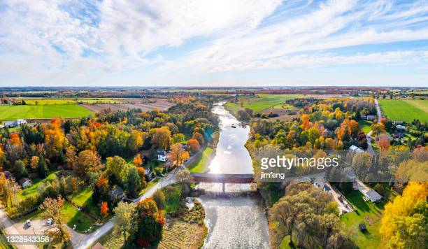 aerial west montrose covered bridge  and grand river near kitchener, west montrose, canada - kissing bridge - ontario canada stock pictures, royalty-free photos & images