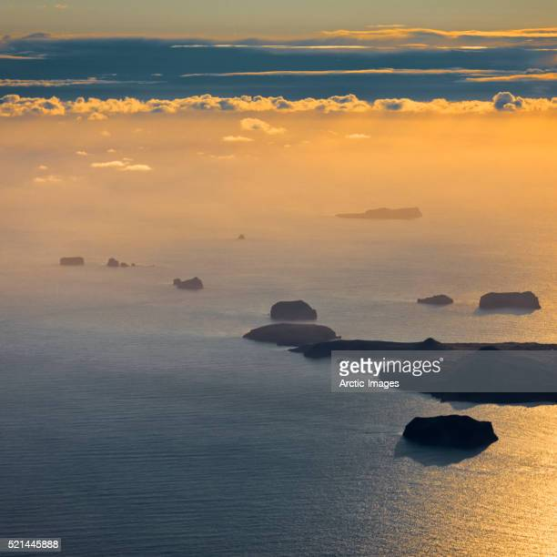 Aerial Westman Islands with Surtsey in the background, Iceland