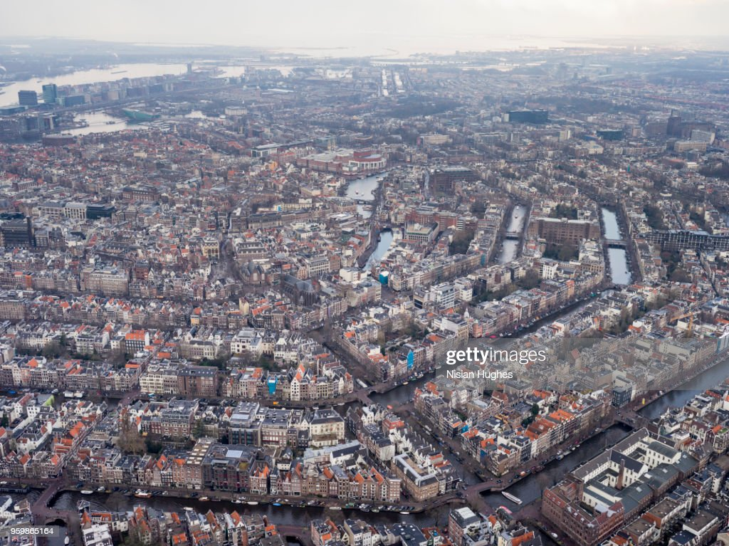 Aerial wide shot of Amsterdam city center : Stock-Foto