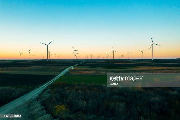 aerial wind farm - serbia stock pictures, royalty-free photos & images