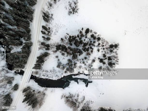 aerial winter landscape - lance king stock photos and pictures