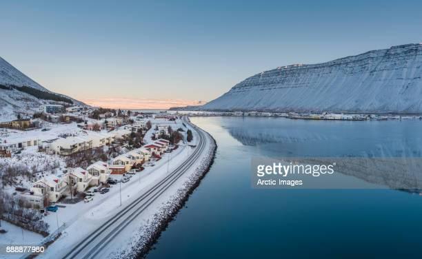 Aerial - Wintertime Isafjordur, Westfjords, Iceland