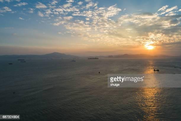 Aerial xiamen island sunset road