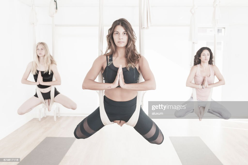 Aerial Yoga class : Stock Photo