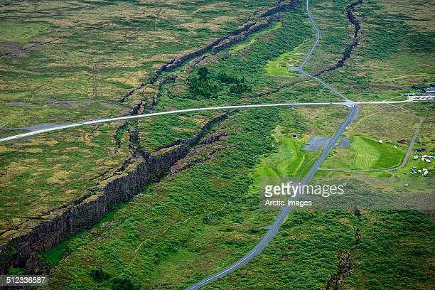 aerial-almannagja fissure, mid-atlantic ridge. - thingvellir stock photos and pictures