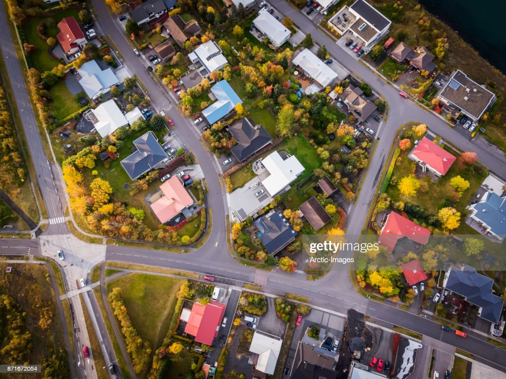 Aerial-Homes in a suburb of Reykjavik, Iceland : Foto de stock