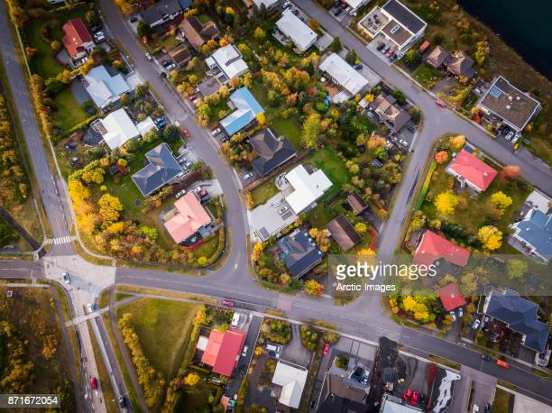 aerial-homes in a suburb of reykjavik, iceland - residential district stock pictures, royalty-free photos & images