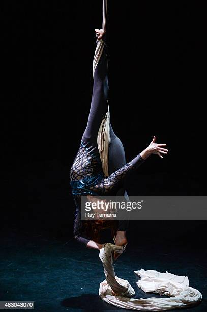 Aerialist Anna ThomasHenry performs on the Silks at the 2015 US Aerial Championship at Rose Nagelberg Theater on February 8 2015 in New York City