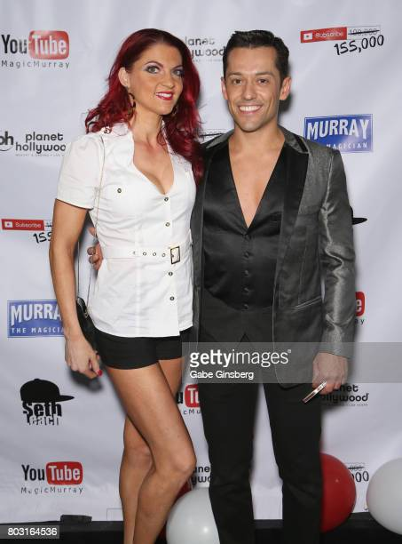 Aerialist Delphine Gaillard and mentalist Frederic DaSilva attend Murray SawChuck's 100000 YouTube subscriber party at Planet Hollywood Resort Casino...