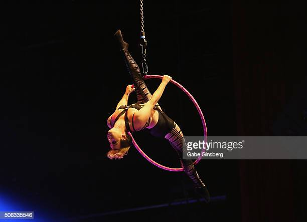 Aerialist Jaelynn Wilde performs during the 2016 AVN Adult Entertainment Expo at The Joint inside the Hard Rock Hotel Casino on January 22 2016 in...