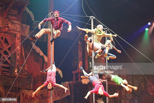 Aerialists stage a Cirque-like performance at Dolly Parton's Lumberjack Adventure Dinner & Show, one of several productions that attract visitors to...
