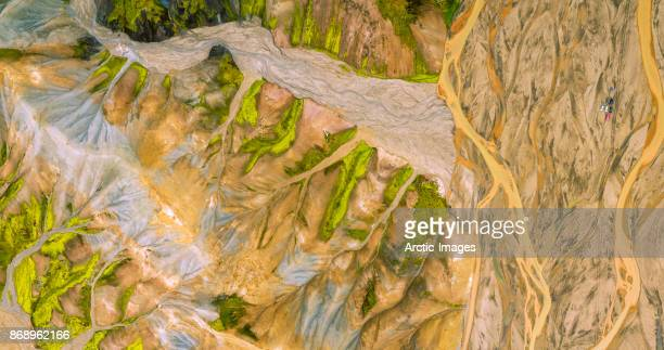 Aerial-Jokulgilskvisl River and Mountain Peaks, Landmannalaugar, Central Highlands, Iceland