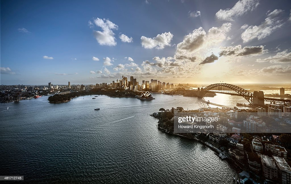 Aeriall view of Sydney Harbour at sunset : Stock Photo