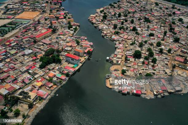 aerials from luanda capital of angola - township stock pictures, royalty-free photos & images