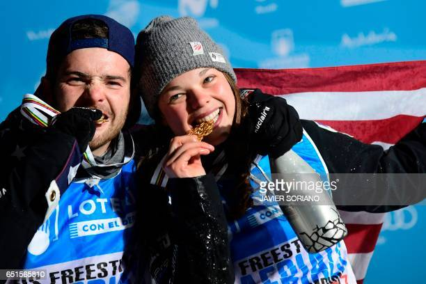 Aerials men and women's World Champions 2017 US skier Jonathon Lillis and US skier Ashley Caldwell pose with their medals after the podium ceremonies...