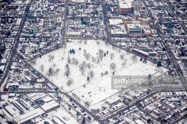 Aerials of city park in Lancaster Pennsylvania