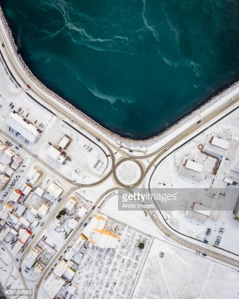 Aerial-Traffic Circle in the Winter by the Sea.