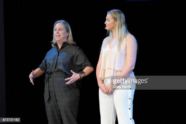 Aerie Global Brand President Jennifer Foyle and model and AerieReal Role Model Iskra Lawrence speak onstage during Glamour Celebrates 2017 Women Of...