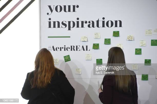 Aerie wall at 2018 Glamour Women Of The Year Summit Women Rise at Spring Studios on November 11 2018 in New York City