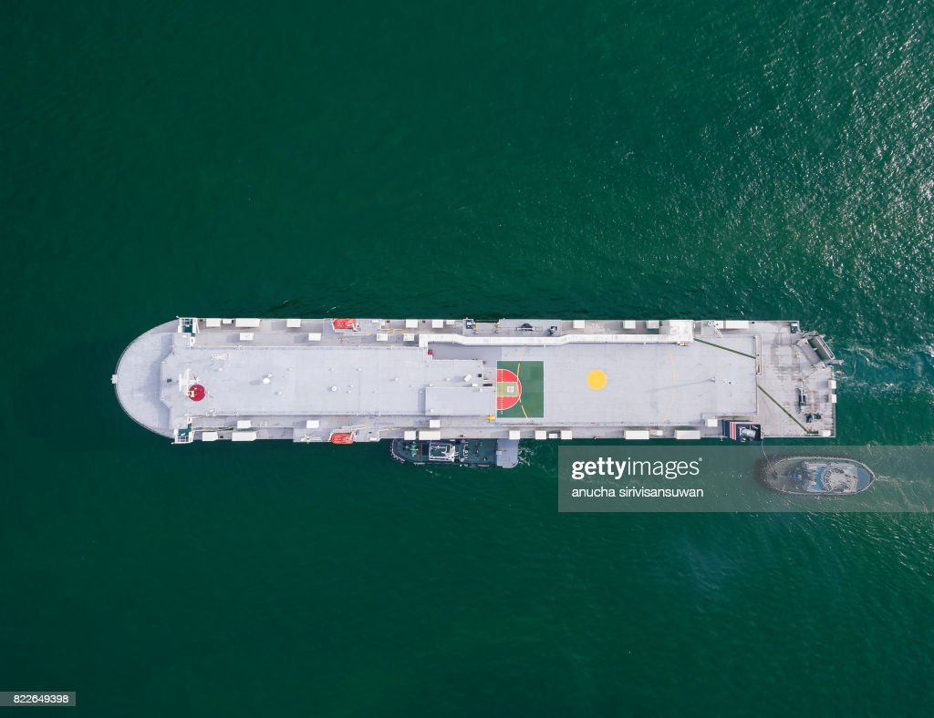 aeriel view container shipping by container ship by green sea . : Stock Photo